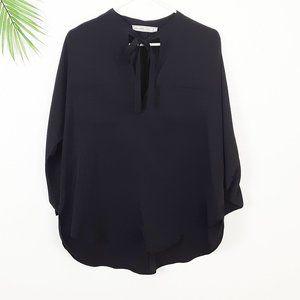 Abercrombie & Fitch Black Blouse Tie Neck L